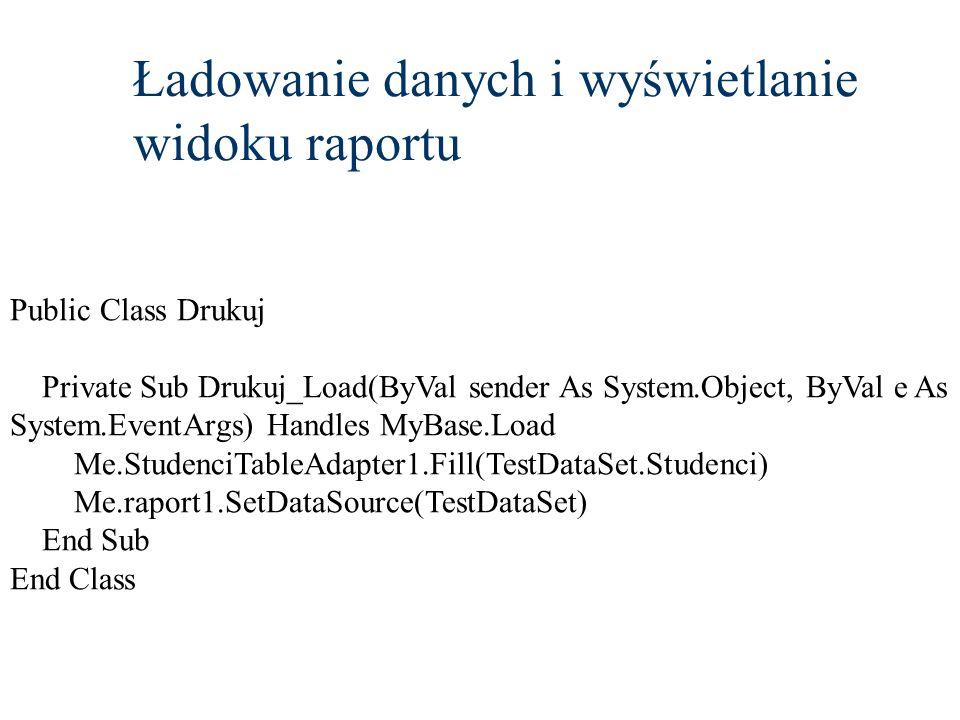 Ładowanie danych i wyświetlanie widoku raportu