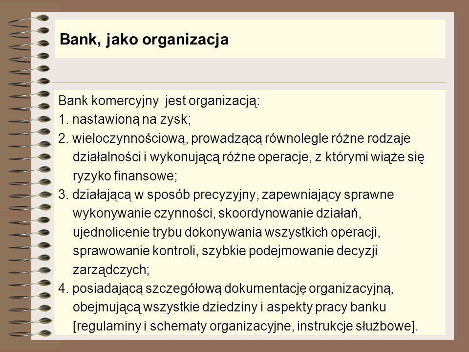 Bank, jako organizacja Bank komercyjny jest organizacją: