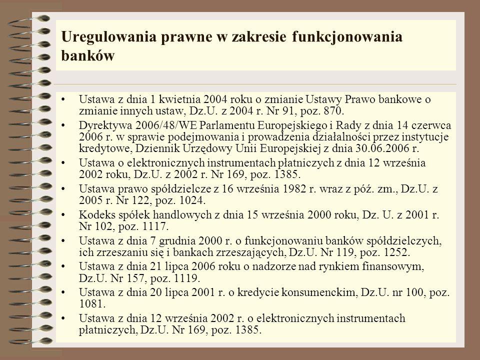 Uregulowania prawne w zakresie funkcjonowania banków