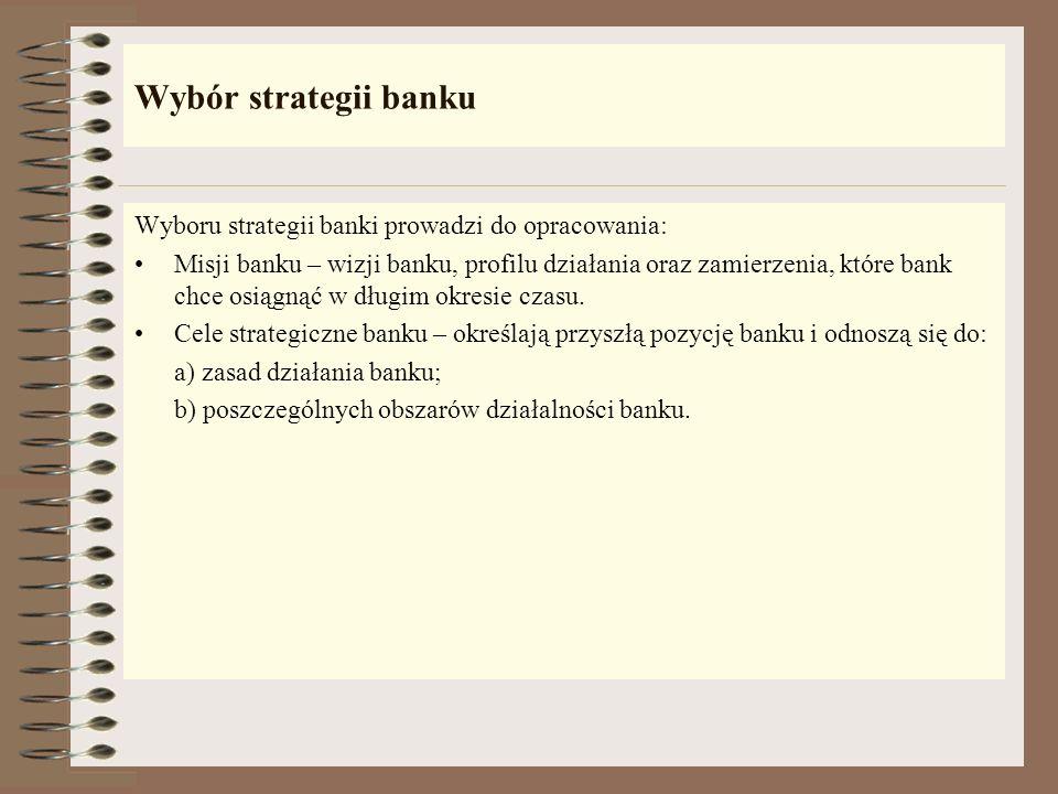 Wybór strategii banku Wyboru strategii banki prowadzi do opracowania: