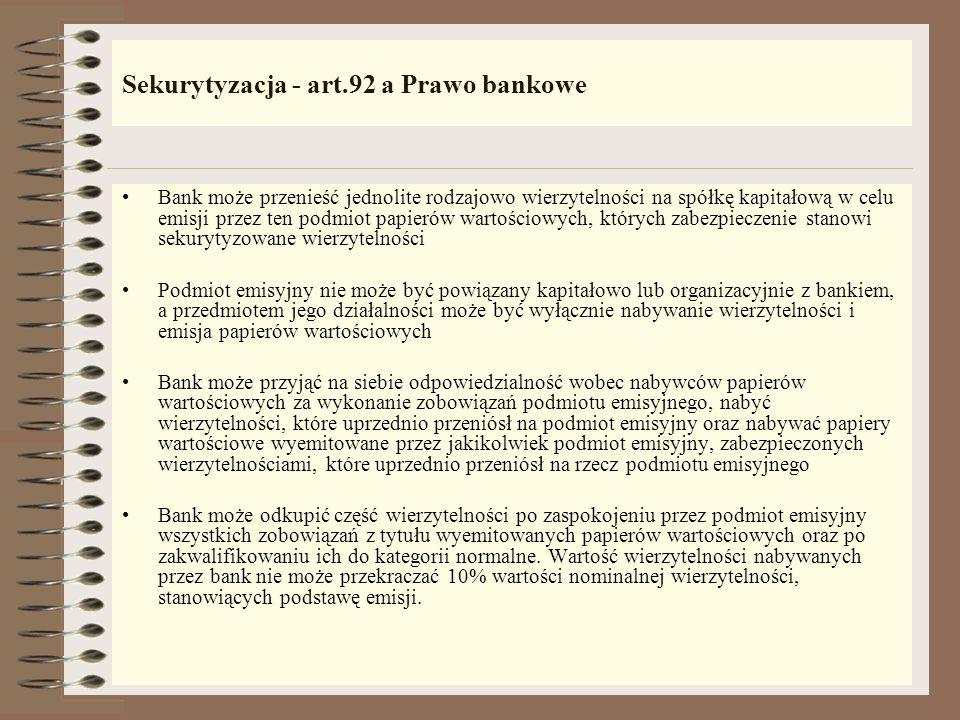 Sekurytyzacja - art.92 a Prawo bankowe