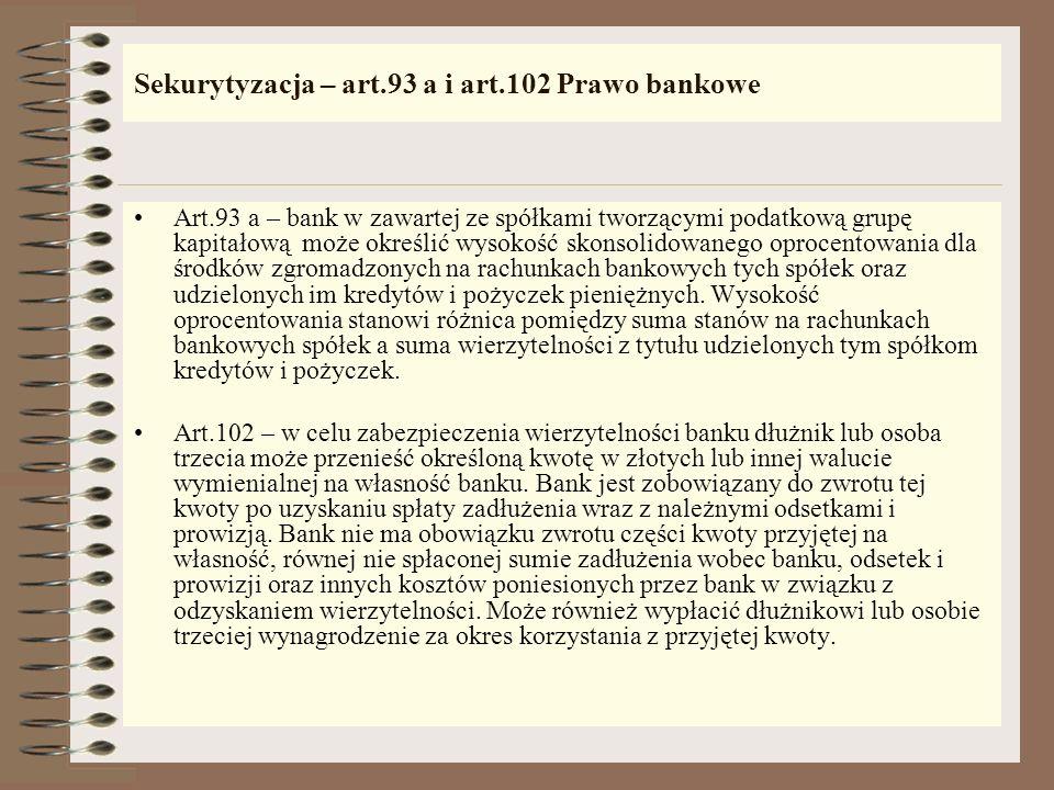 Sekurytyzacja – art.93 a i art.102 Prawo bankowe