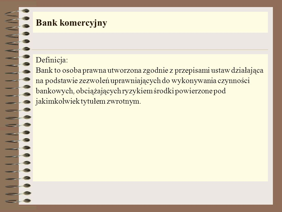 Bank komercyjny Definicja: