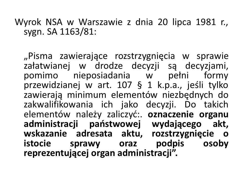 Wyrok NSA w Warszawie z dnia 20 lipca 1981 r. , sygn