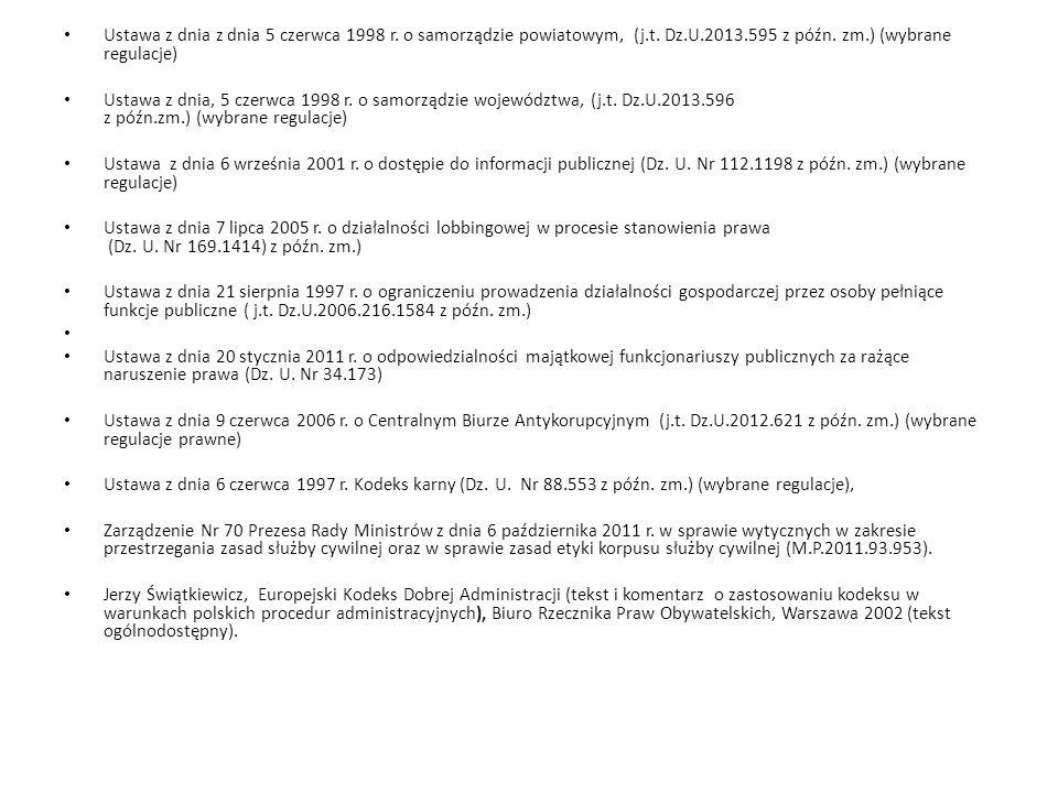 Ustawa z dnia z dnia 5 czerwca 1998 r. o samorządzie powiatowym, (j. t