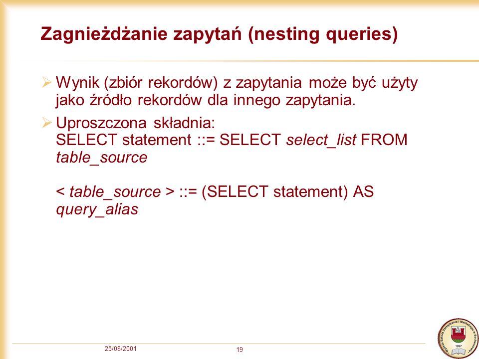 Zagnieżdżanie zapytań (nesting queries)