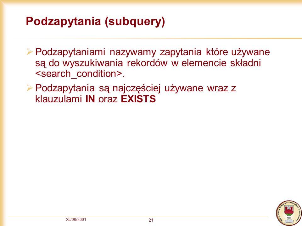 Podzapytania (subquery)