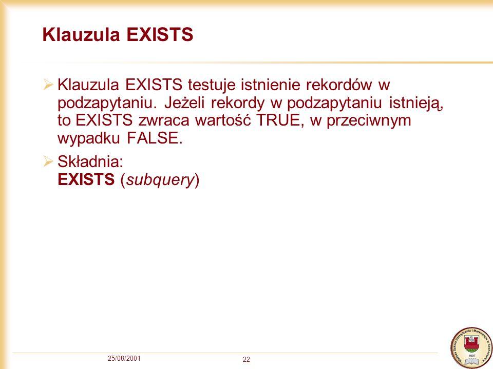 Klauzula EXISTS