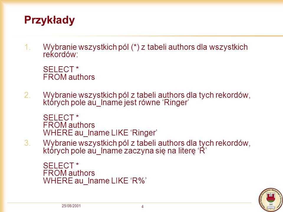 Przykłady Wybranie wszystkich pól (*) z tabeli authors dla wszystkich rekordów: SELECT * FROM authors.