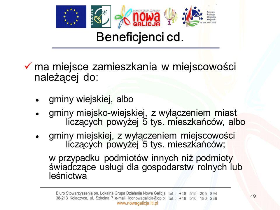 Beneficjenci cd. ma miejsce zamieszkania w miejscowości należącej do: