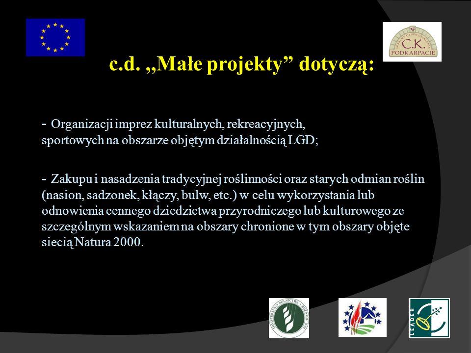 c.d. ,,Małe projekty dotyczą:
