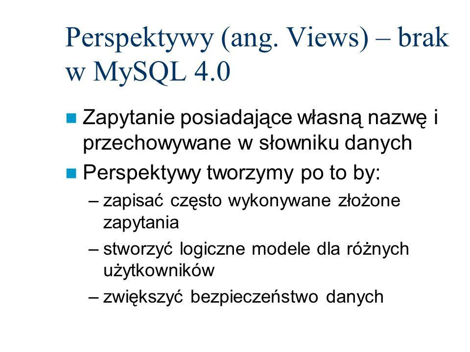 Perspektywy (ang. Views) – brak w MySQL 4.0
