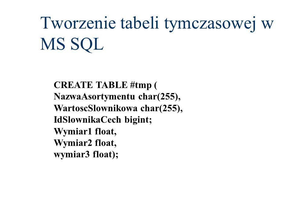 Tworzenie tabeli tymczasowej w MS SQL