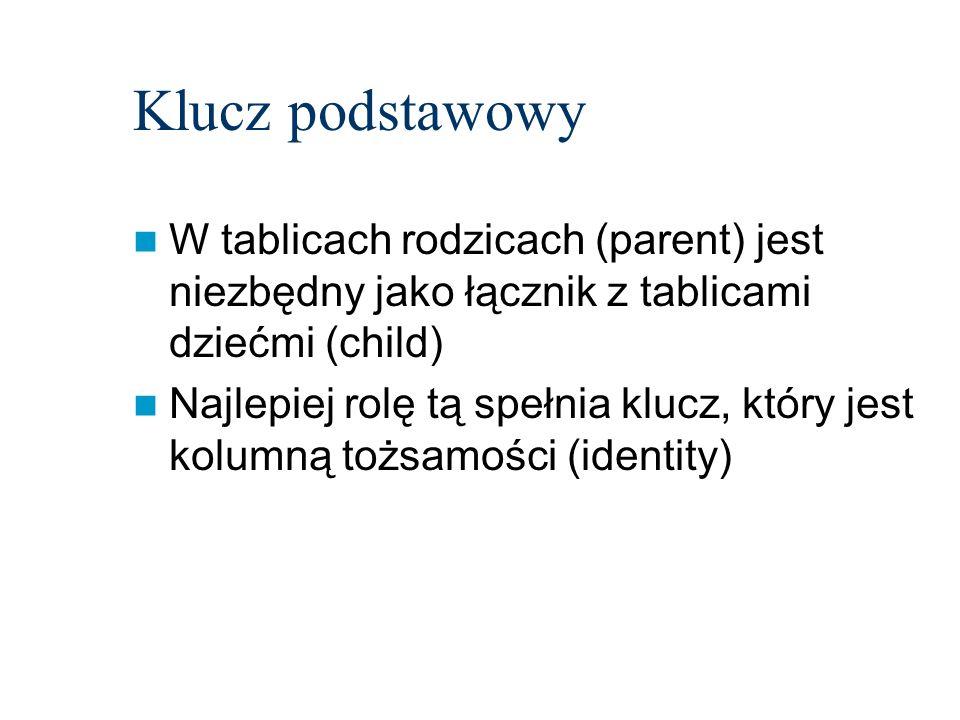 Klucz podstawowyW tablicach rodzicach (parent) jest niezbędny jako łącznik z tablicami dziećmi (child)