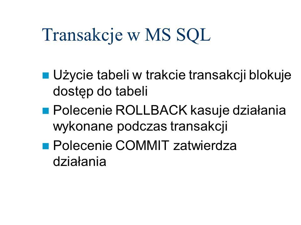 Transakcje w MS SQLUżycie tabeli w trakcie transakcji blokuje dostęp do tabeli. Polecenie ROLLBACK kasuje działania wykonane podczas transakcji.