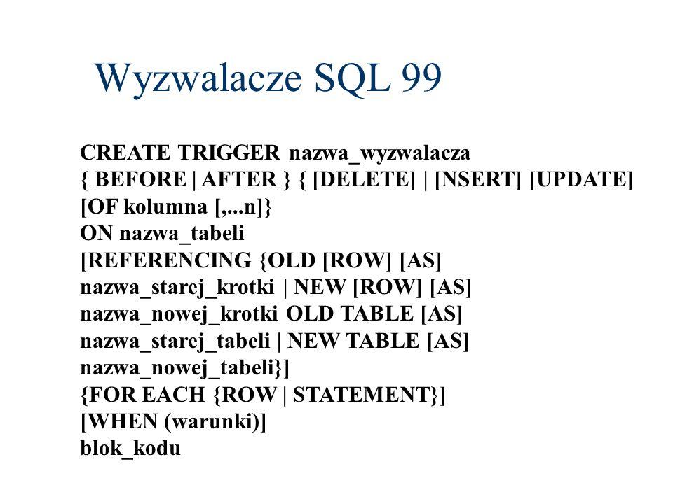 Wyzwalacze SQL 99 CREATE TRIGGER nazwa_wyzwalacza