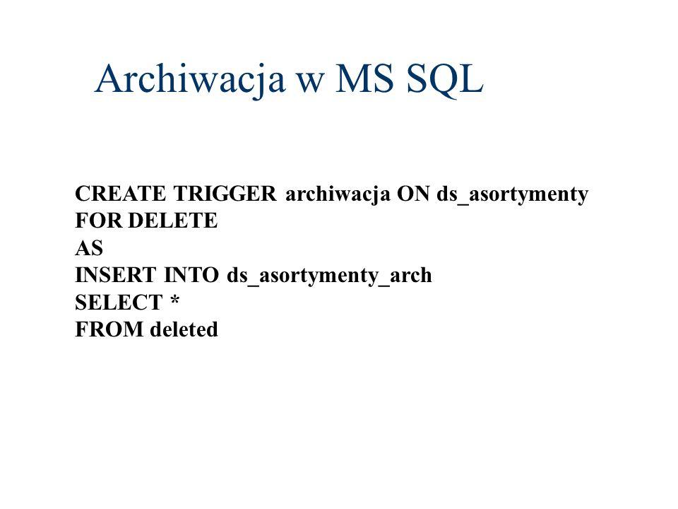Archiwacja w MS SQL CREATE TRIGGER archiwacja ON ds_asortymenty
