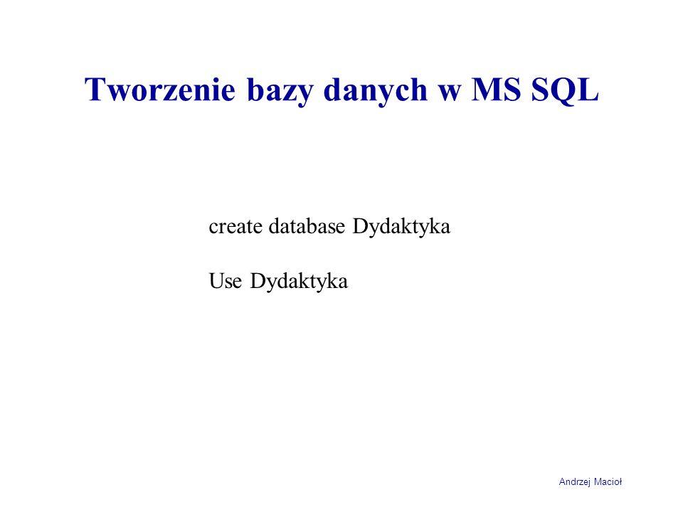 Tworzenie bazy danych w MS SQL