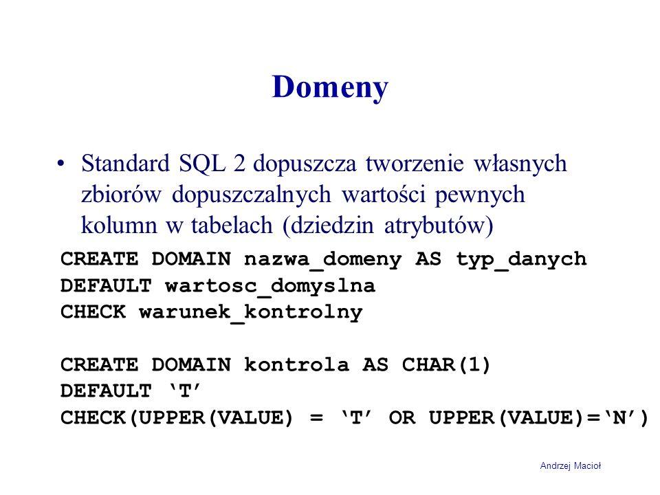 Domeny Standard SQL 2 dopuszcza tworzenie własnych zbiorów dopuszczalnych wartości pewnych kolumn w tabelach (dziedzin atrybutów)
