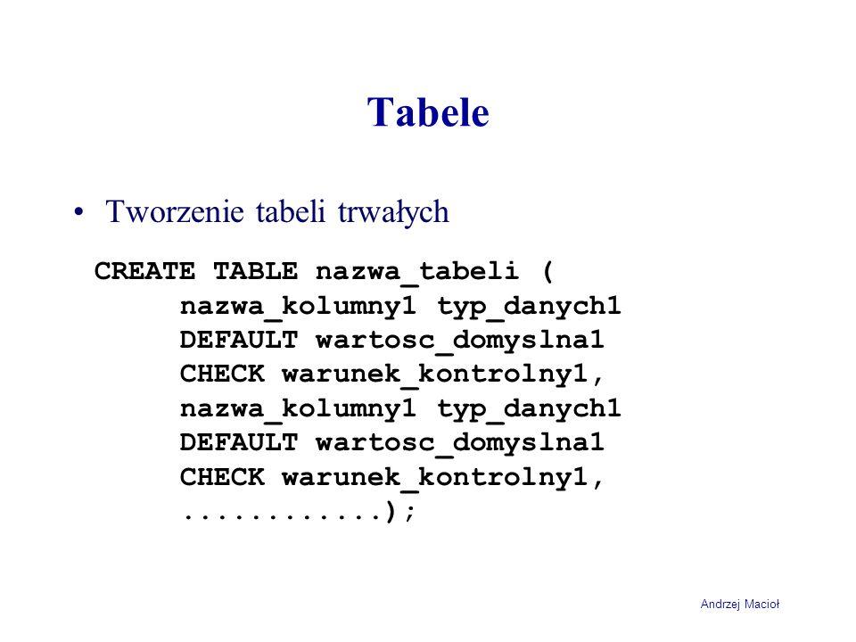 Tabele Tworzenie tabeli trwałych CREATE TABLE nazwa_tabeli (