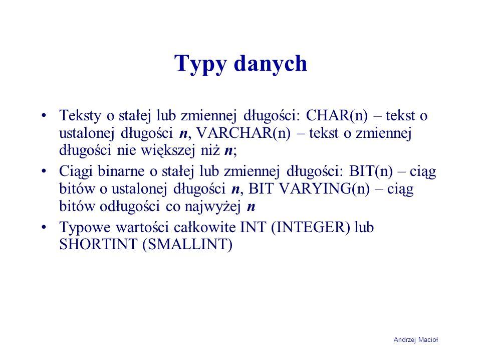 Typy danych Teksty o stałej lub zmiennej długości: CHAR(n) – tekst o ustalonej długości n, VARCHAR(n) – tekst o zmiennej długości nie większej niż n;