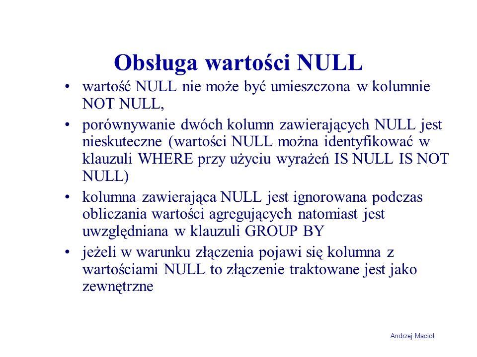 Obsługa wartości NULL wartość NULL nie może być umieszczona w kolumnie NOT NULL,