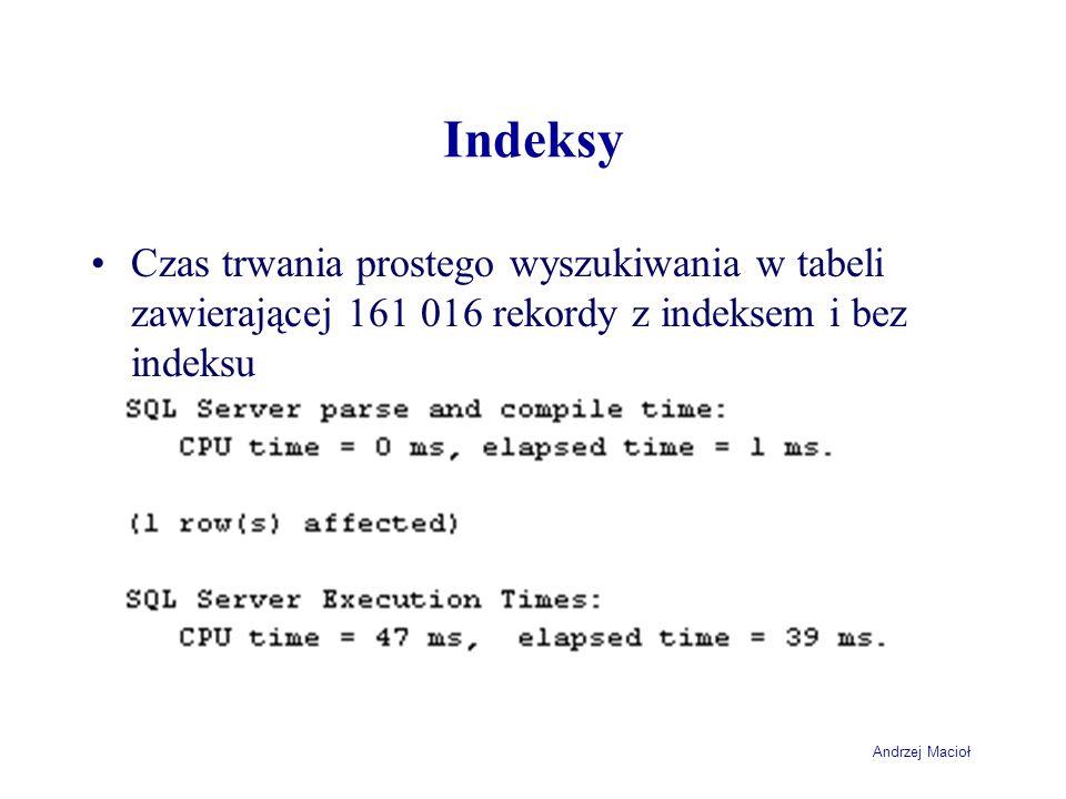Indeksy Czas trwania prostego wyszukiwania w tabeli zawierającej 161 016 rekordy z indeksem i bez indeksu.