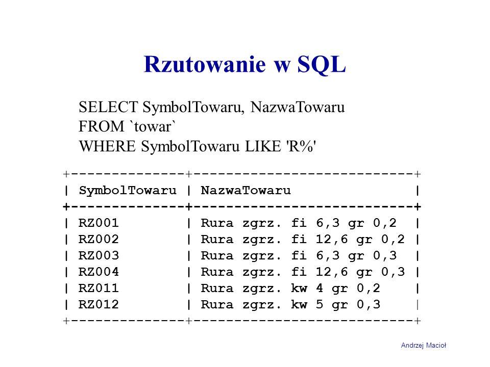 Rzutowanie w SQL SELECT SymbolTowaru, NazwaTowaru FROM `towar`