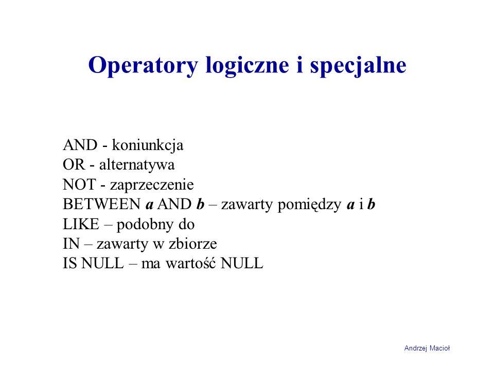 Operatory logiczne i specjalne