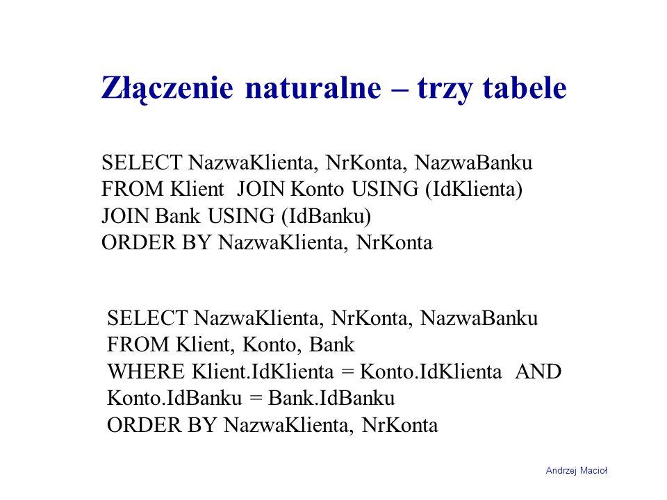 Złączenie naturalne – trzy tabele