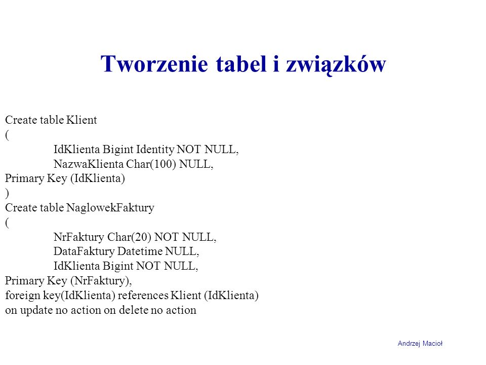 Tworzenie tabel i związków