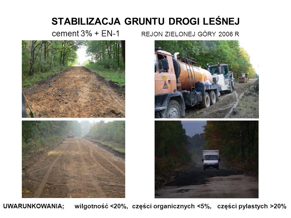 STABILIZACJA GRUNTU DROGI LEŚNEJ cement 3% + EN-1 REJON ZIELONEJ GÓRY 2006 R