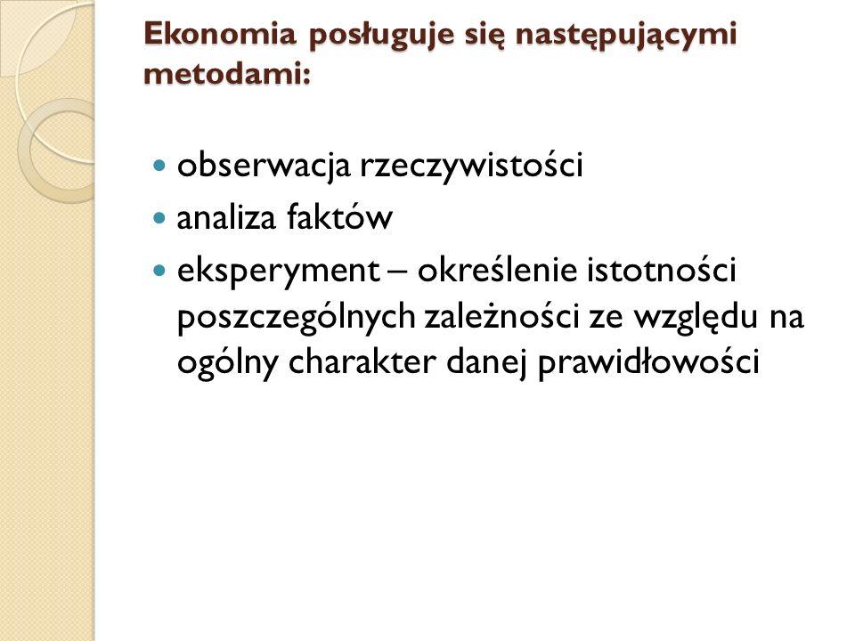 Ekonomia posługuje się następującymi metodami: