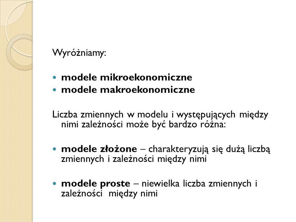 Wyróżniamy: modele mikroekonomiczne. modele makroekonomiczne.