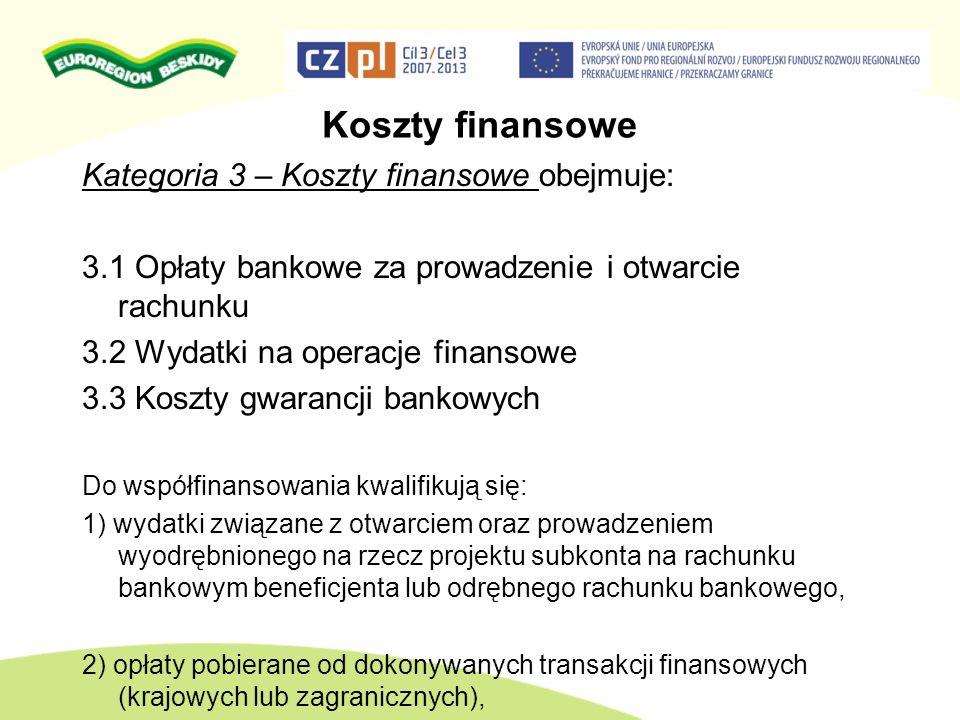 Koszty finansowe Kategoria 3 – Koszty finansowe obejmuje: