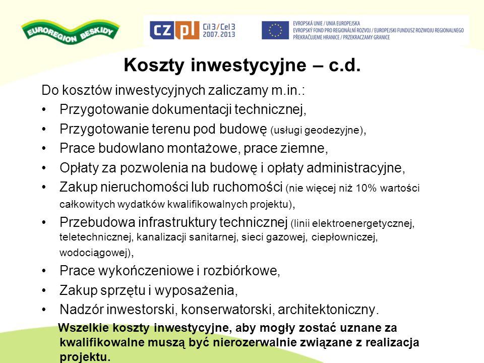 Koszty inwestycyjne – c.d.