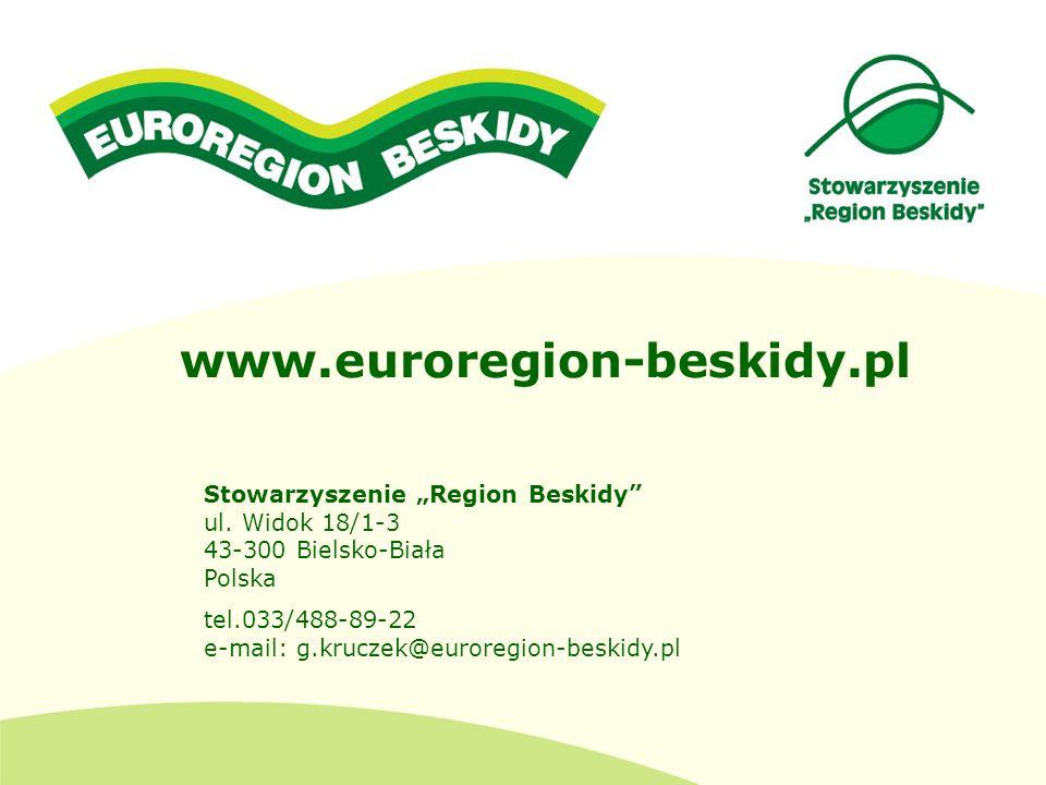 """www.euroregion-beskidy.pl Stowarzyszenie """"Region Beskidy ul. Widok 18/1-3 43-300 Bielsko-Biała Polska."""
