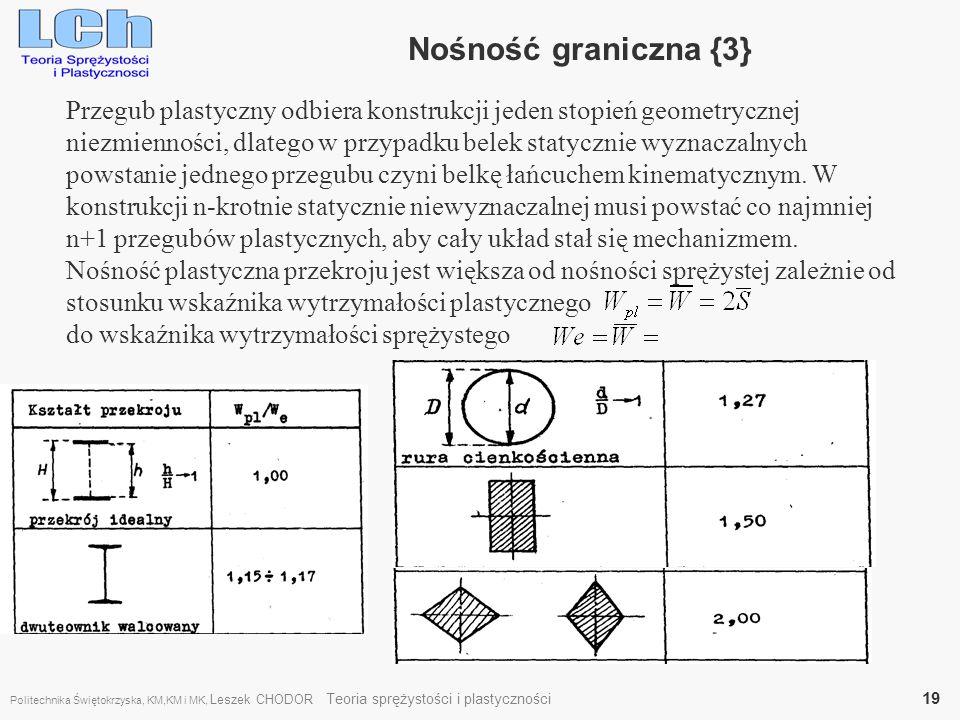 Nośność graniczna {3} Przegub plastyczny odbiera konstrukcji jeden stopień geometrycznej.