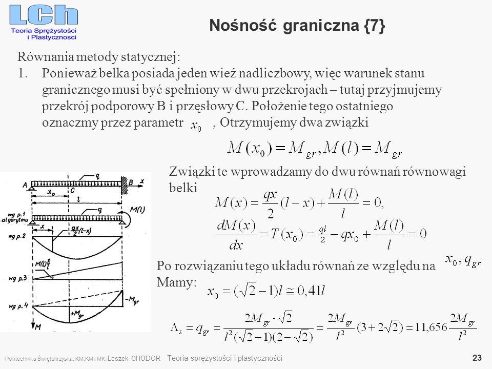 Nośność graniczna {7} Równania metody statycznej: