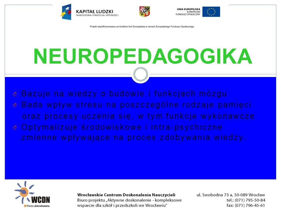 NEUROPEDAGOGIKA Bazuje na wiedzy o budowie i funkcjach mózgu