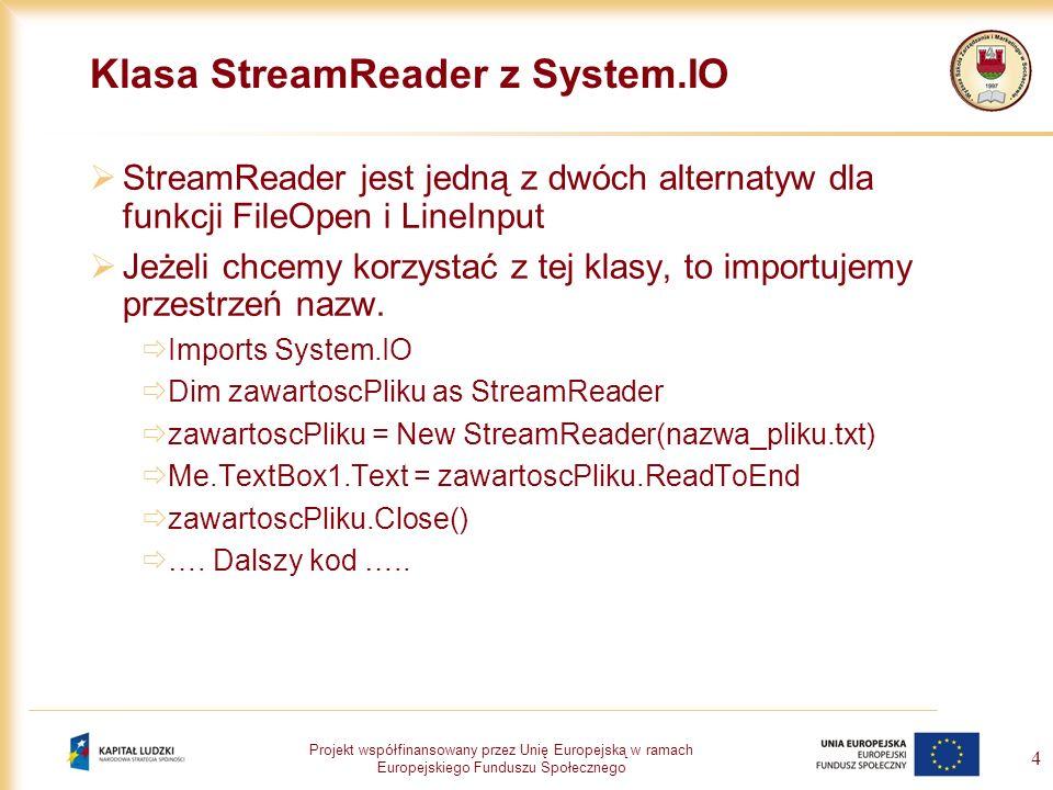 Klasa StreamReader z System.IO