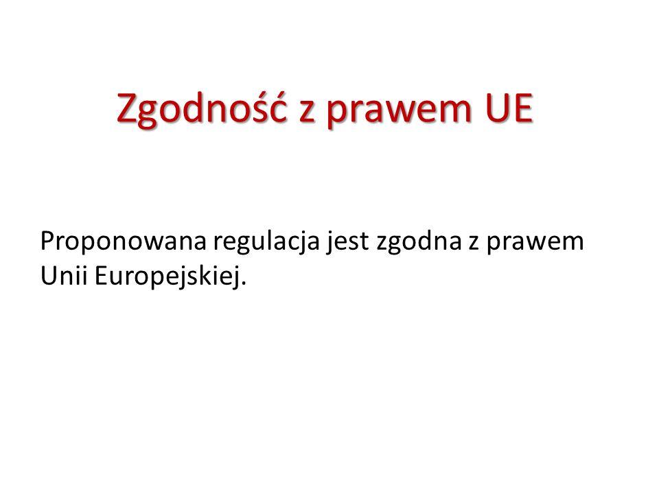 Zgodność z prawem UE Proponowana regulacja jest zgodna z prawem Unii Europejskiej.