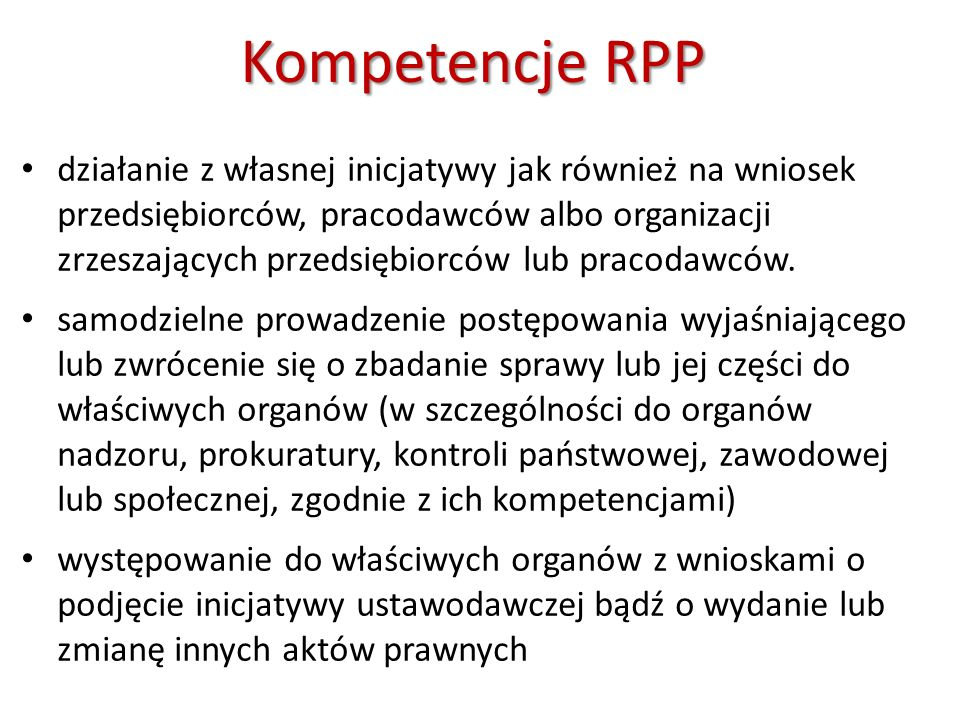 Kompetencje RPP