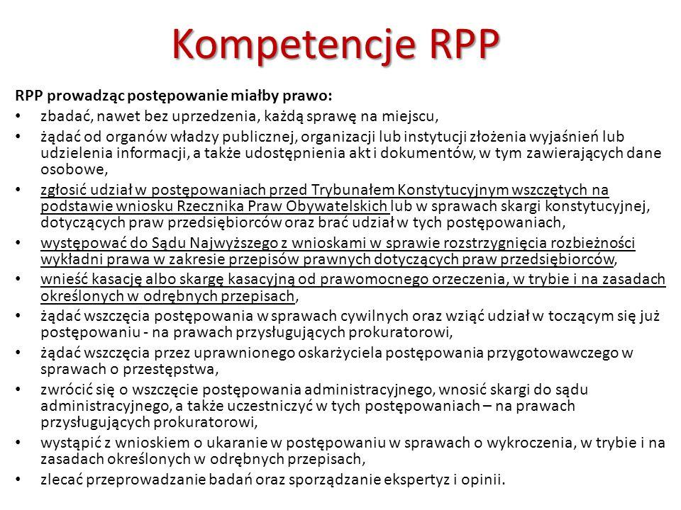 Kompetencje RPP RPP prowadząc postępowanie miałby prawo: