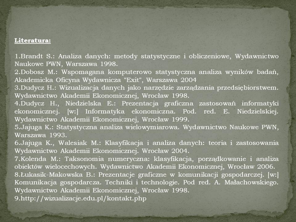 Literatura: Brandt S.: Analiza danych: metody statystyczne i obliczeniowe, Wydawnictwo Naukowe PWN, Warszawa 1998.