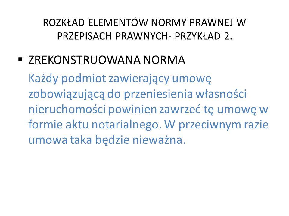 ROZKŁAD ELEMENTÓW NORMY PRAWNEJ W PRZEPISACH PRAWNYCH- PRZYKŁAD 2.