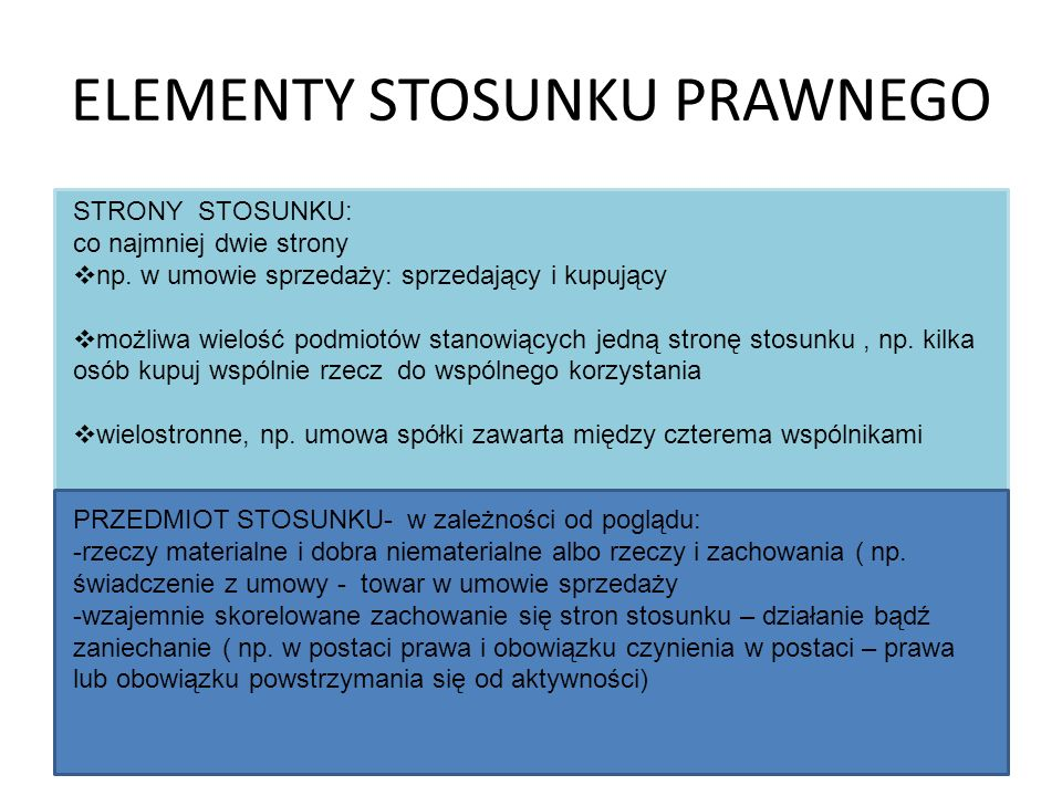 ELEMENTY STOSUNKU PRAWNEGO