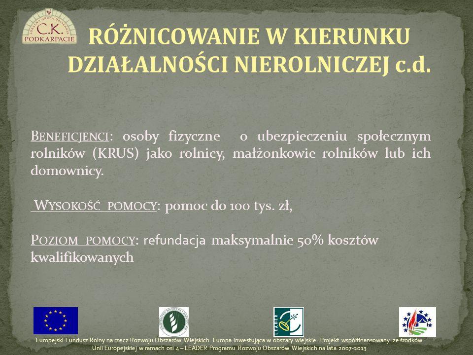 RÓŻNICOWANIE W KIERUNKU DZIAŁALNOŚCI NIEROLNICZEJ c.d.