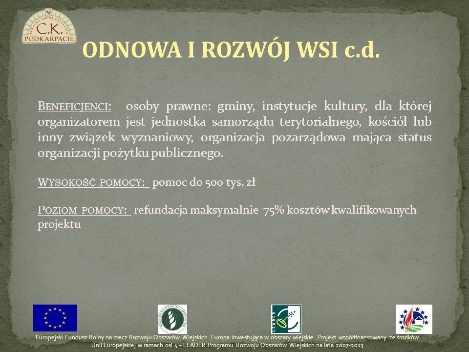 ODNOWA I ROZWÓJ WSI c.d.