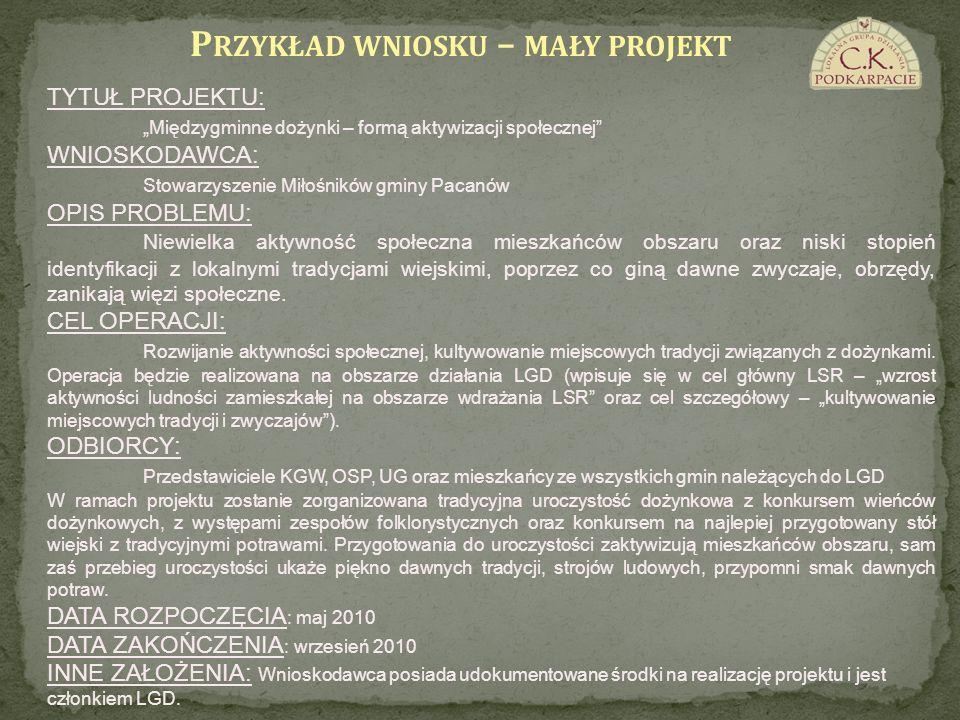 Przykład wniosku – mały projekt
